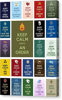Keep Calm ...with A Bite Collage Canvas Print by Helena Kay