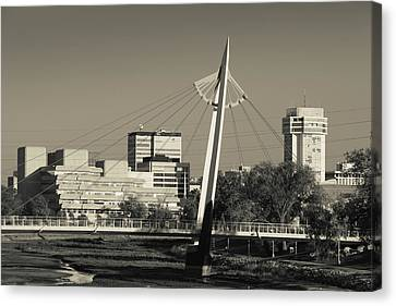 Keeper Of The Plains Footbridge Canvas Print by Panoramic Images