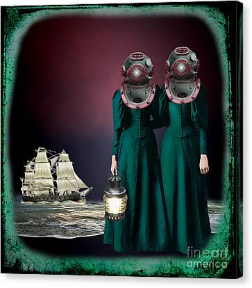 Diving Helmet Canvas Print - Keepers Of The Deep by Carolyn Slattery