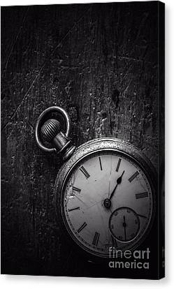 Keeping Time Black And White Canvas Print