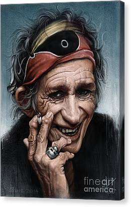 Musicians Canvas Print - Keith Richards by Andre Koekemoer