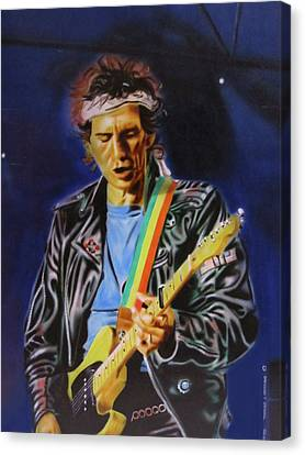 Canvas Print featuring the painting Keith Richards Of Rolling Stones by Thomas J Herring