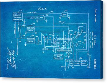 Kell Color Television Patent Art 1942 Blueprint Canvas Print by Ian Monk