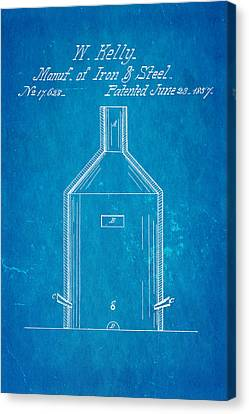 Kelly Iron And Steel Patent Art 1857 Blueprint Canvas Print by Ian Monk