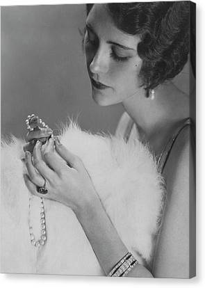 Kendall Lee Holding A Pearl Necklace Canvas Print