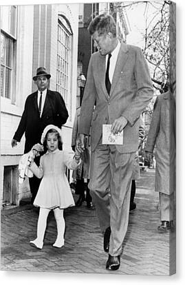 Kennedy And Daughter Caroline Canvas Print