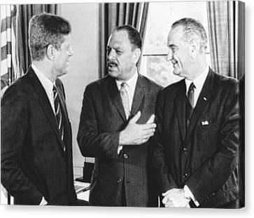 Kennedy, Johnson And Khan Talk Canvas Print