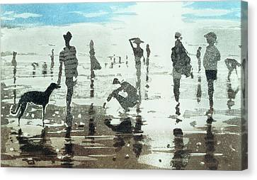 Dog On The Beach Canvas Print - Kenneggy, Cornwall by Lucy Willis