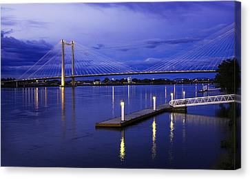 Canvas Print featuring the photograph Kennewick Bridge 2 by Sonya Lang