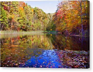 Kentucky Autumn Pond Canvas Print by Lena Auxier