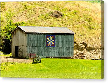 Kentucky Barn Quilt - Americana Star Canvas Print by Mary Carol Story