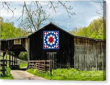 Kentucky Barn Quilt - Carpenters Wheel Canvas Print by Mary Carol Story