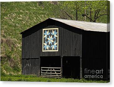 Kentucky Barn Quilt - Snow Crystals Canvas Print by Mary Carol Story