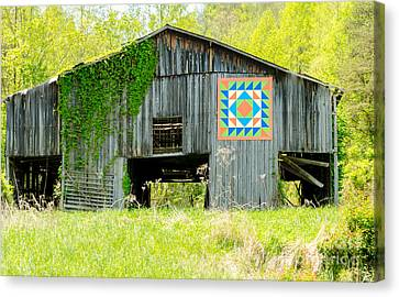 Kentucky Barn Quilt - Thunder And Lightening Canvas Print by Mary Carol Story