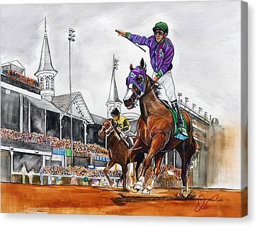Kentucky Derby Winner California Chrome Canvas Print by Dave Olsen