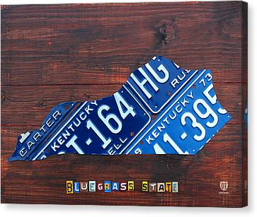 Tag Art Canvas Print - Kentucky License Plate Map The Bluegrass State by Design Turnpike