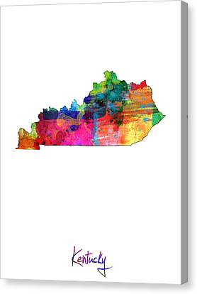 Kentucky Map Canvas Print by Michael Tompsett