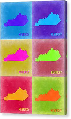 Kentucky Pop Art Map 2 Canvas Print by Naxart Studio