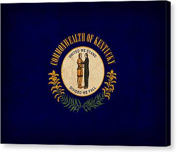 Kentucky State Flag Art On Worn Canvas Canvas Print