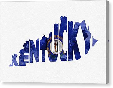 Kentucky Typographic Map Flag Canvas Print by Ayse Deniz