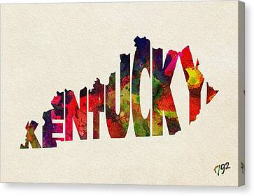 Kentucky Typographic Watercolor Map Canvas Print