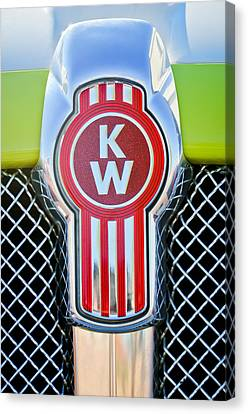 Truck Canvas Print - Kenworth Truck Emblem -1196c by Jill Reger