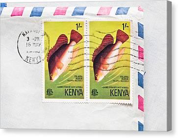 Kenya Stamps Canvas Print by Tom Gowanlock