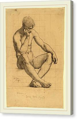 Kenyon Cox, Seated Male Nude Study For Science-iowa State Canvas Print by Litz Collection
