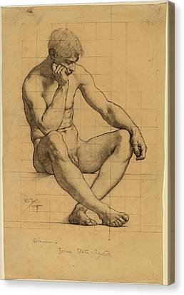 Kenyon Cox, Seated Male Nude Study For Science - Iowa State Canvas Print by Quint Lox