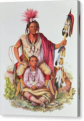 Keokuk Or Watchful Fox, Chief Of The Sauks And Foxes, And His Son, Musewont Or Long-haired Fox Canvas Print by Charles Bird King