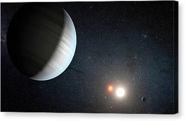 Binary Canvas Print - Kepler-47 Planetary System by Nasa/jpl-caltech/t. Pyle