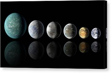 Kepler Exoplanets And Earth Canvas Print by Nasa/ames/jpl-caltech