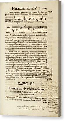 Kepler On Planetary Harmony Canvas Print