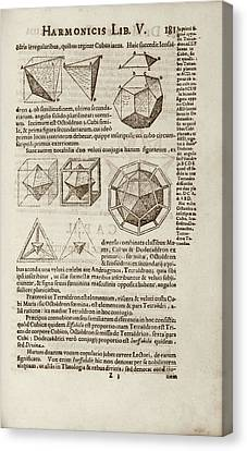 Kepler On Platonic Solids Canvas Print by Library Of Congress