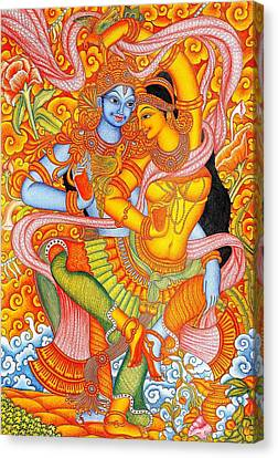 Kerala Fresco Mural Canvas Print by Pg Reproductions