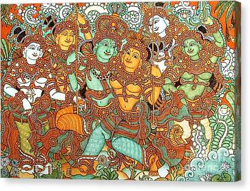 Kerala Mural Painting Canvas Print by Pg Reproductions
