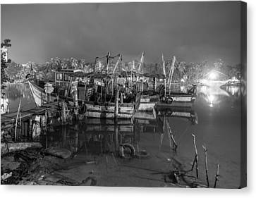 Canvas Print featuring the photograph Kerala Night Dock by Sonny Marcyan