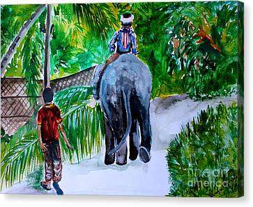 Canvas Print featuring the painting Kerala by Saranya Haridasan