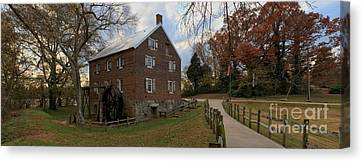 Kerr Grist Mill Fall Panorama Canvas Print by Adam Jewell