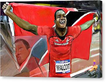 Canvas Print featuring the mixed media Keshorn Walcott by Vannetta Ferguson