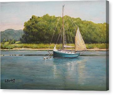 Canvas Print featuring the painting Ketch At Anchor by Sandra Nardone
