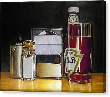 Ketchup And Diner Still Life Canvas Print by Vic Vicini