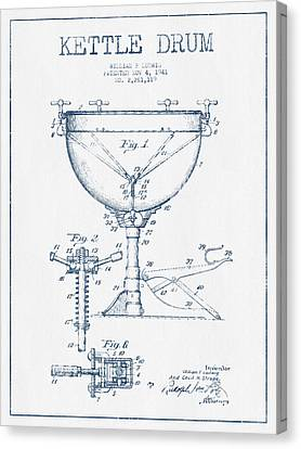 Kettle Drum Drum Patent Drawing From 1941  - Blue Ink Canvas Print by Aged Pixel