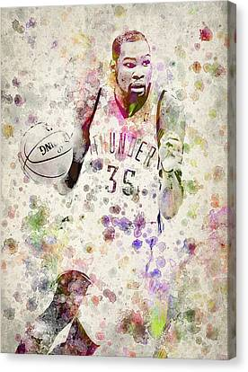 Nba Drawings Canvas Print - Kevin Durant In Color by Aged Pixel