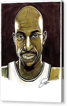 Kevin Garnett Portrait Canvas Print by Dave Olsen