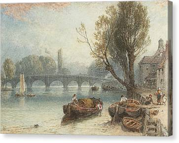 Kew Bridge From Standing On The Green Canvas Print by Myles Birket Foster