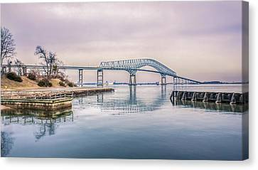 Key Bridge In Winter Canvas Print by Rob Sellers