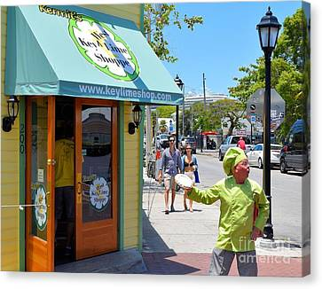 Key Lime Pie Man In Key West Canvas Print by Janette Boyd