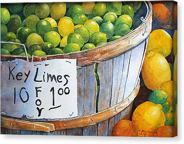 Key Limes Ten For A Dollar Canvas Print by Roger Rockefeller