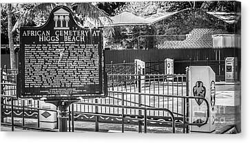 Key West African Cemetery 7 - Key West - Panoramic - Black And White Canvas Print by Ian Monk